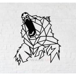 """Объемная 3D картина из дерева """"Злой медведь"""""""