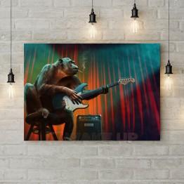 """Картина на холсте """"Обезьяна-гитарист"""""""
