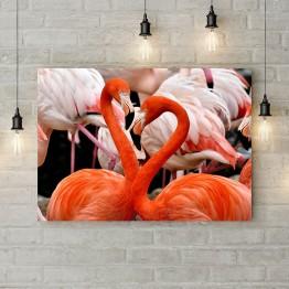 """Картина на холсте """"Сердца-фламинго"""""""