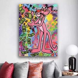 Картина на холсте Розовая Пантера при деньгах